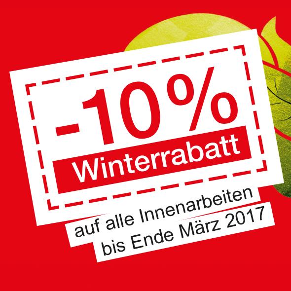 -10% Winterrabatt auf alle Innenarbeiten der Malerei Rainbacher